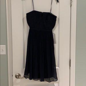 J Crew Navy Strapless Chiffon Party Dress Size 4